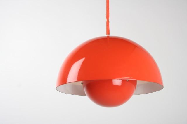 Deckenleuchte Design Verner Panton Flowerpot, Made in Denmark, 1968, rot