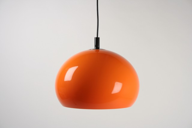 Deckenleuchte Kugelform, Kunststoff, orange