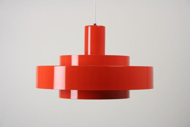 Deckenleuchte Metall, Ringform, rot