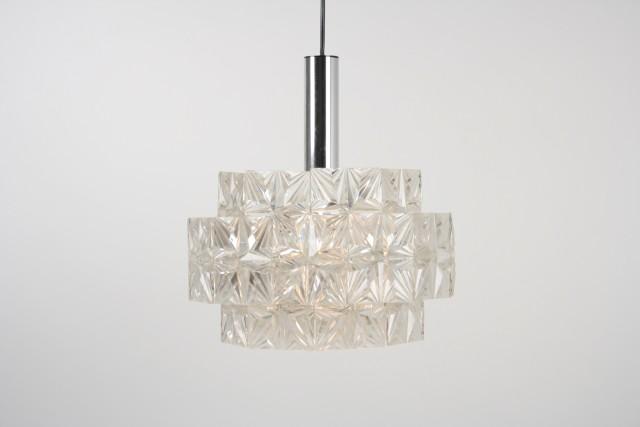 Deckenleuchte Kunststoff Panelen, drei Ringe, Sternmuster, transparent