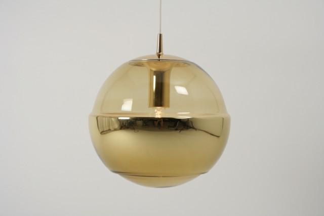 Hängeleuchte Peill-Putzler, Glaskugel, Spiegelseiten, gold