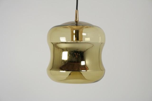 Hängeleuchte Peill-Putzler, Glas, nach innen gewölbte Spiegelseiten, gold