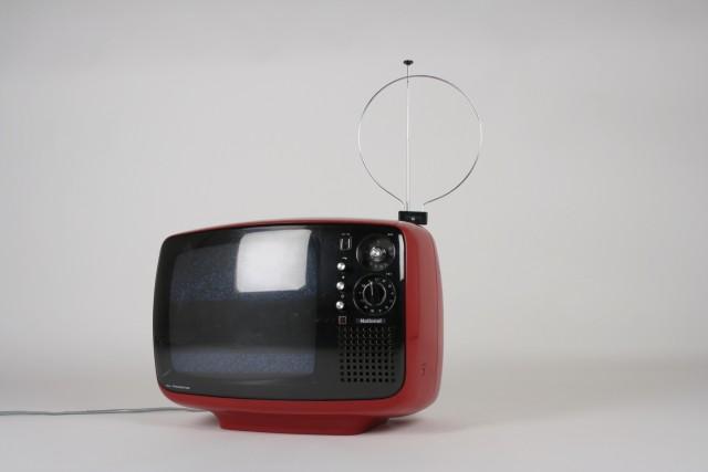 TV S/W National All Transistor, rot/schwarz