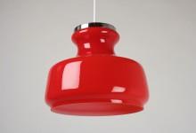 Deckenleuchte Glas, Zylinderform, rot